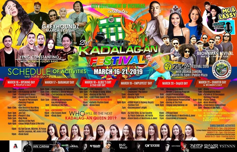 KADALAG-AN FESTIVAL SCHEDULE OF ACTIVITIES | VICTORIAS CITY, NEGROS OCCIDENTAL