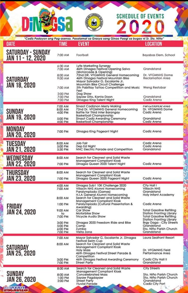 2020 DINAGSA FESTIVAL SCHEDULE OF ACTIVITIES