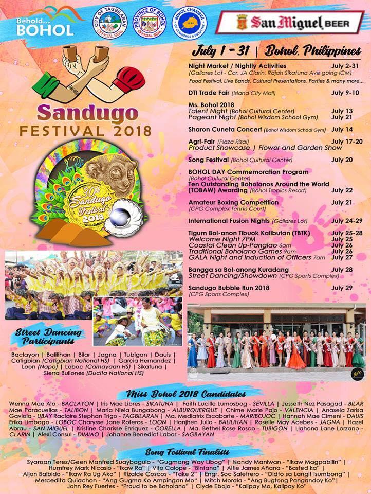 2018 BOHOL SANDUGO FESTIVAL SCHEDULE OF ACTIVITIES