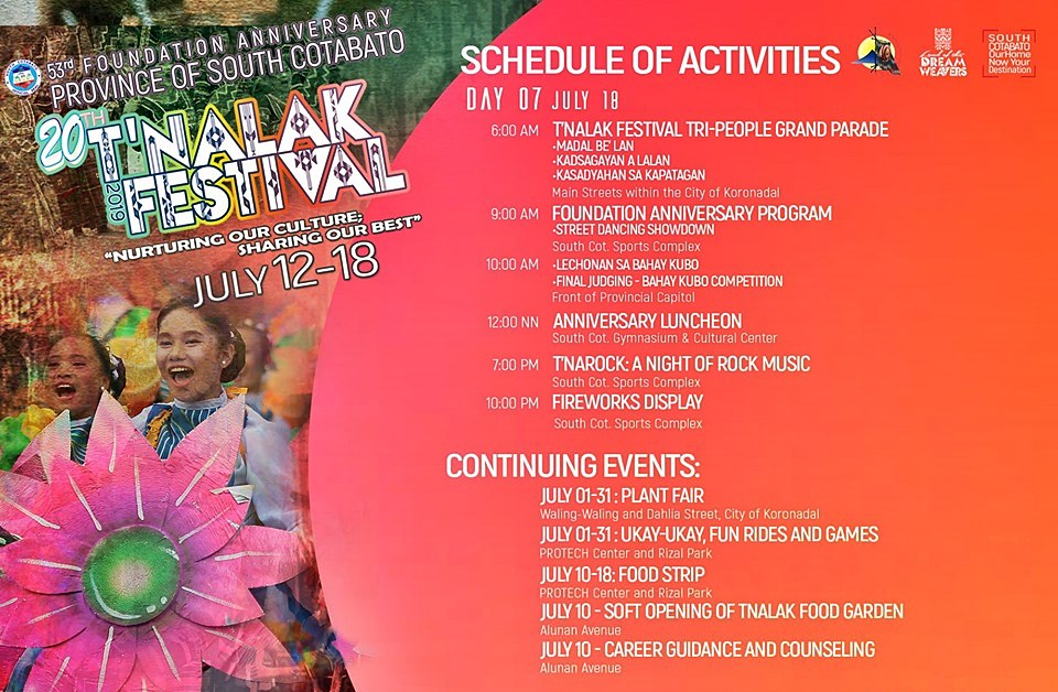 T'NALAK FESTIVAL SCHEDULE OF ACTIVITIES [SOUTH COTABATO]