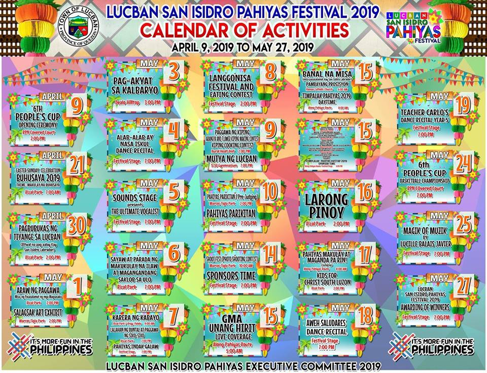 2019 PAHIYAS FESTIVAL SCHEDULE OF ACTIVITIES