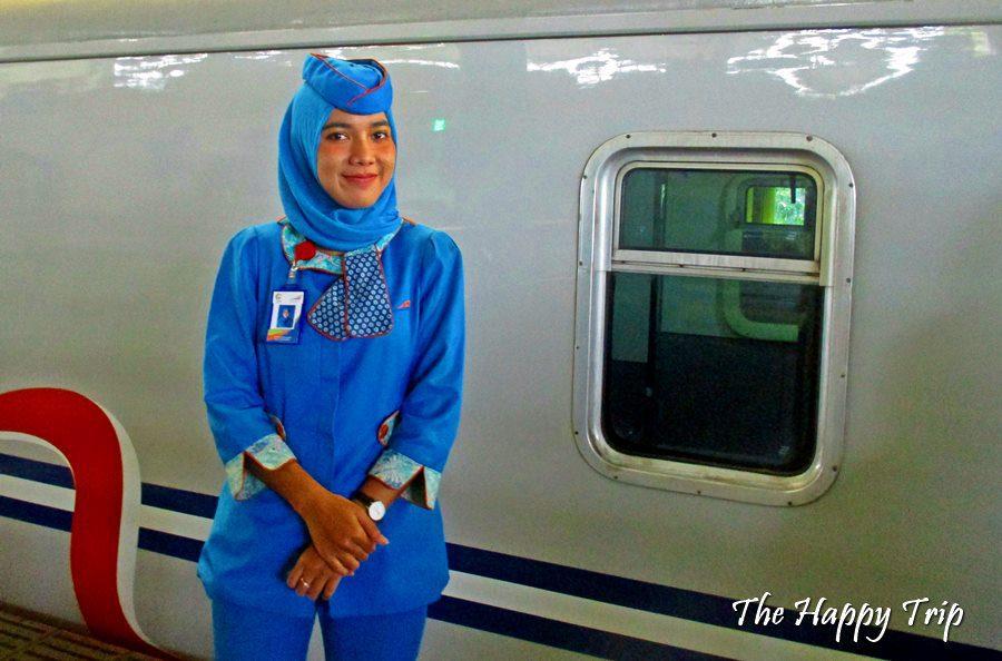 Stewardess at the train