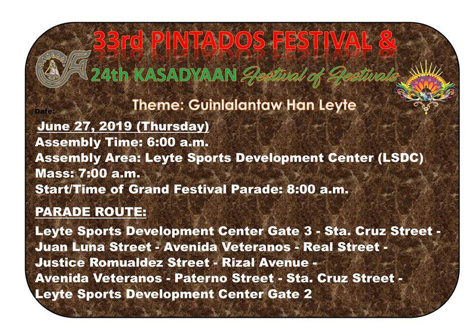 PINTADOS KASADYAAN FESTIVAL SCHEDULE OF ACTIVITIES