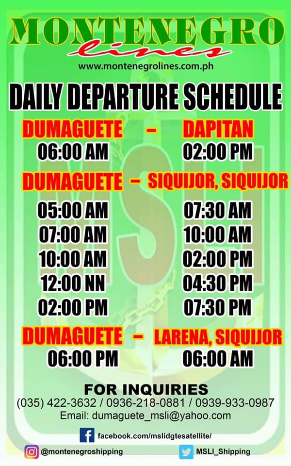 DUMAGUETE TO SIQUIJOR FERRY SCHEDULE